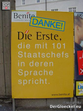 Wahlwerbung Dr. Benita Ferrero-Waldner