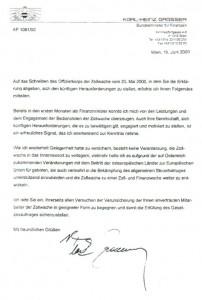 Brief an die Beamten der Zollwache von Minister GRASSER