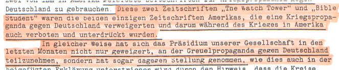 Faksimile aus dem Brief der Zeugen Jehovas an Adolf Hitler