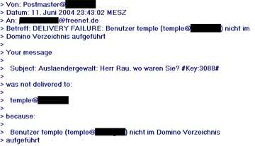 Faksimile einer mit Mitarbeiter e-Mail-Adresse verschickten braunen Propaganda