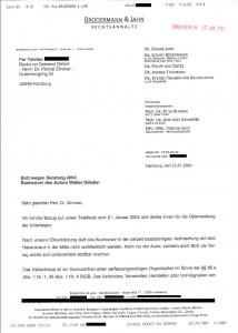 Rechtsanwalt Brödermann - der eingetroffene Brief
