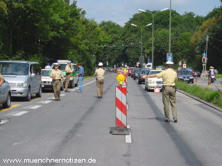 Straßensperre der Polizei
