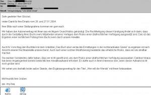 Die e-Mail an Walter Egon Glöckel