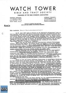 Seite 1 des Briefes von Rutherford an Adolf Hitler