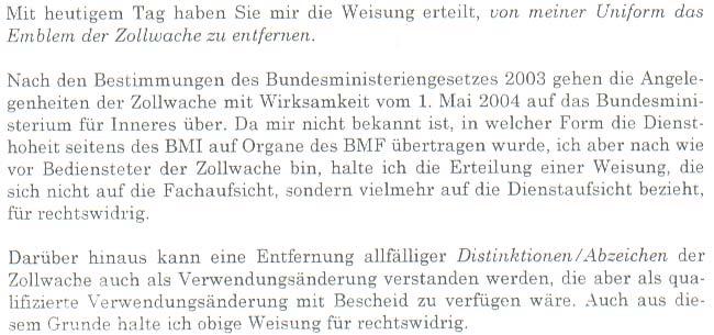 """Faksimile der schriftlichen Stellungnahme der """"Zollwache-Beamten"""" vom 1.5.2004 zu der Aufforderung zur Entfernung des Zollwache-Emblems und Androhung der Disziplinaranzeige"""