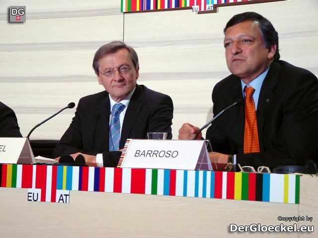 Ratspräsident Wolfgang Schüssel und Kommissionspräsident Josè Menuel Barroso bei der Pressekonferenz zum Arbeitstreffen der österreichischen Bundesregierung mit der Europäischen Kommission