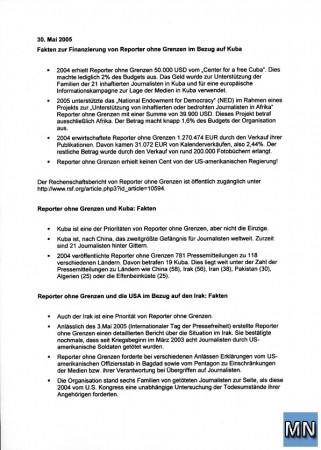 Seite 1 der Antwort von Reporter ohne Grenzen