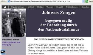Screenshot der Zeugen Jehovas-Webpräsenz