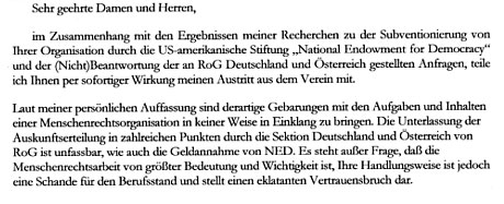 Faksimile des Ausstrittsschreibens an Reporter ohne Grenzen, Dektion Deutschland vom 5.6.2005