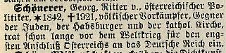 Faksimile aus dem Volks-Brockhaus 1939 zu SCHÖNERER