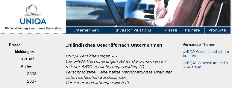 Faksimile der Pressemitteilung der UNIQA Group Austria vom 18.11.1999