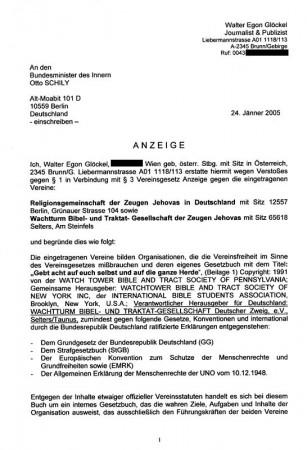 Anzeige des Journalisten beim Bundesinnenminister gegen die ZEUGEN JEHOVAS