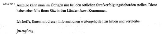 Faksimile aus Seite 3 des Schreibens aus dem Bundesinnenministerium
