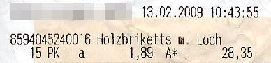 Heizkosten Februar 2009 1,89 Euro