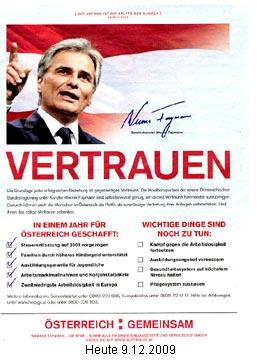Faymann-Werbeschaltung in HEUTE am 9.12.2009 | Graphik: DerGloeckel.eu