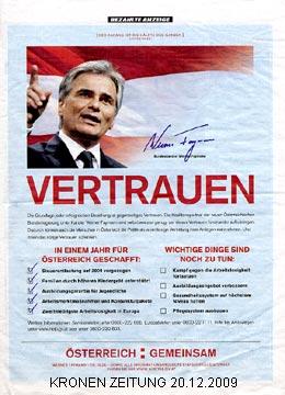 Faymann-Werbeschaltung in der KRONEN ZEITUNG am 20.12.2009 | Graphik: DerGloeckel.eu