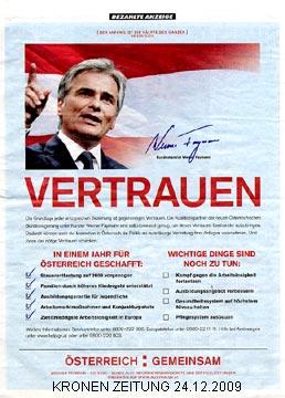 Faymann-Werbeschaltung in der KRONEN ZEITUNG am 24.12.2009 | Graphik: DerGloeckel.eu