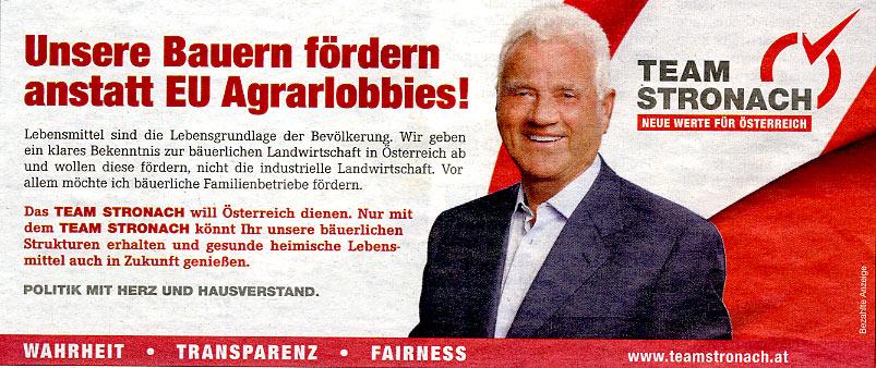 Frank Stronach - Werbeschaltung am 7.12.2012 in HEUTE | Graphik: DerGloeckel.eu